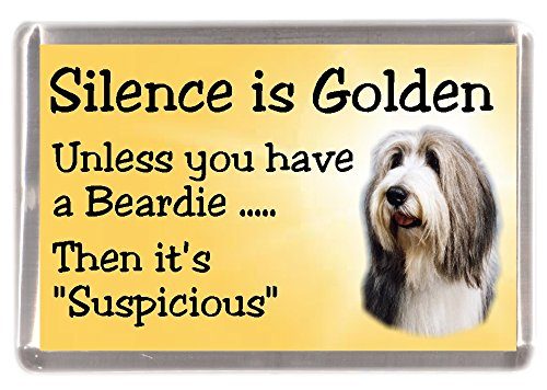 "Bearded Collie Dog Fridge Magnet""Silence is Golden Unless You Have a Beardie. Then It's Suspicious"" – Fun Novelty Dog Gift Lovely Mothers/Fathers Day Birthday Christmas Present Idea"