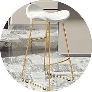 STOOL Bar, Café, Restaurant Stuhl, Pub Barhocker Mit Kunstledersitz Amp; Goldene Metallbeine, Küchenstühle Mit Fußstütze Und Rückenlehne, 65 cm (25,59 ') / 75 cm (29,52'),# 1,75Cm