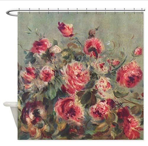 Yiciyici Pierre-Auguste Renoir Roses Duschvorhang - Dekorativer Duschvorhang Aus Stoff-180(H) X200(W) - Pierre Auguste Renoir, Roses