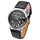 Reloj de pulsera para mujer, estilo moderno, diseño con texto 'Whatever, I'm late anyway', color negro, de la marca JSDDE.
