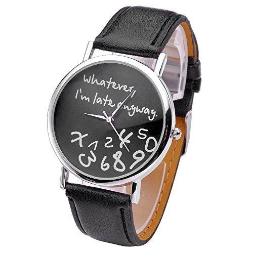"""JSDDE Damen Armbanduhr, mit Aufschrift """"Whatever, I'm Late Anyway"""", rundes Gehäuse, schwarz"""