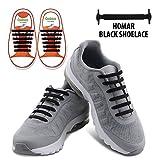 Kids Goods Best Deals - Homar sin corbata Cordones de zapatos para niños y adultos Impermeables cordones de zapatos de atletismo atlética de silicona elástico plano con multicolor de los zapatos del tablero Sneaker boots (Kid Size Black)
