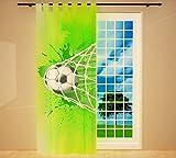 Clever-Kauf-24 Vorhang Gardine für das Kinderzimmer Fußball grün BxH 145 x 245 cm | Sichtschutz | Lichtdurchlässig | Schlaufenschal fürs Vereinsheim