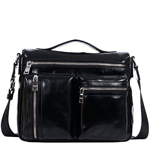 LAIDAYE Männer Schultertasche Herren Handtasche Herren Tasche Business Brief Black