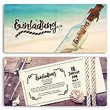 (10 x) Einladungskarten Geburtstag Flaschenpost Strand Meer Vintage Einladungen