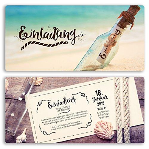 (30 x) Einladungskarten Geburtstag Flaschenpost Strand Meer Vintage Einladungen