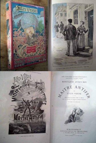 MIRIFIQUES AVENTURES DE MAITRE ANTIFER de JULES VERNE edition Hetzel portrait collé dos au phare (edition 1894 Originale)