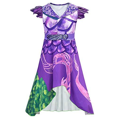 QYS Party City Descendants 3 Dragon Mal Kostüm für Kinder, mit lila Drachenkleid,110cm (Mal Kostüm Disney)