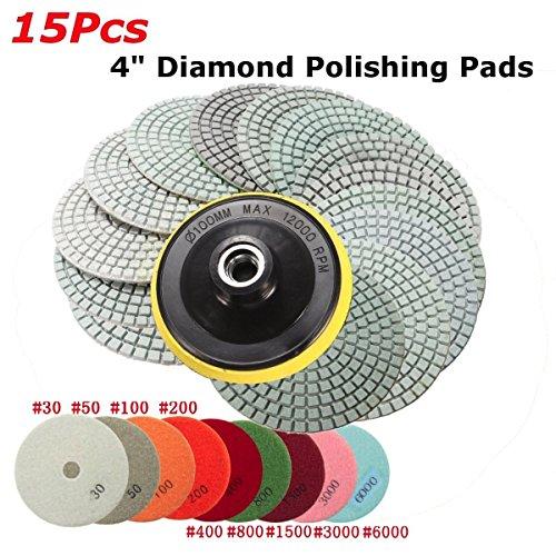 Disque Diamant, GOCHANGE 15 Pcs 4 pouces Diamant Polissage Pads, Tampons de Polissage Béton, Granit Marbre Polissage avec Pads, 30 / 50 / 100 / 200 / 400 / 800 / 1500 / 3000 / 6000