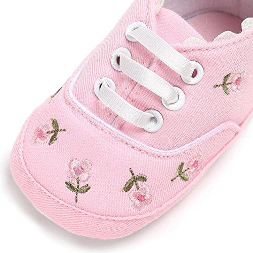 Igemy 1 Paar Neugeborenes Kind Baby Mädchen Blumen Krippe Schuhe Soft Sole Anti-Rutsch Sneakers Leinwand Rosa