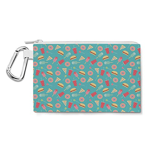 Junk Food sur toile Zip Pouch – Multi Purpose Trousse Sac en 6 tailles XL Canvas Pouch 12x9 inch Green