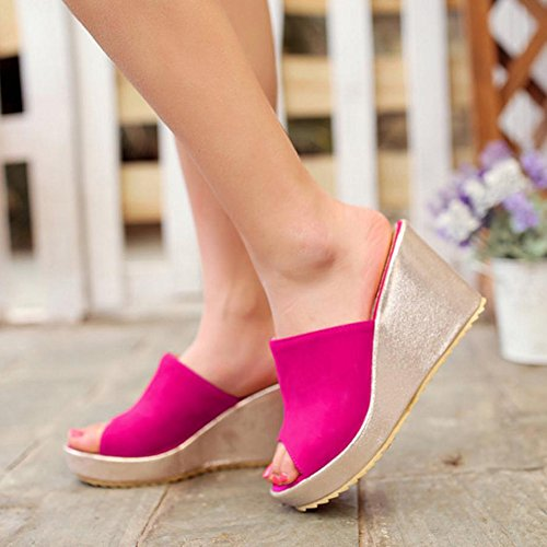 RizaBina Femmes Mode Compenses Peep Toe Talons Hauts Plateforme Sandales Rose