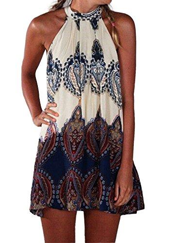 ACHIOOWA Sommerkleid Damen Boho Ärmellos Strandkleid Minikleid Elegant Casual Mini Böhmen Neckholder Kleid Floral-399925 S - Ärmelloses Chiffon-kleid
