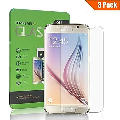 [Lot de 3] Verre Trempé Samsung Galaxy S6, Yokimico Protection écrans Film Protection en Verre Trempé Ultra Résistant pour Samsung Galaxy