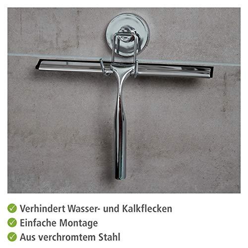 WENKO 20877100 Vacuum-Loc Duschabzieher, Badezimmerwischer, Befestigen ohne bohren, Stahl, 25 x 21.5 x 6 cm, Chrom