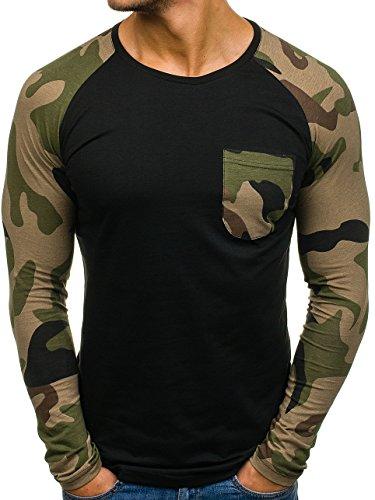 Bolf – maglia con maniche lunghe – longsleeve – militare – athletic 1089 – uomo – l nero [1a1]
