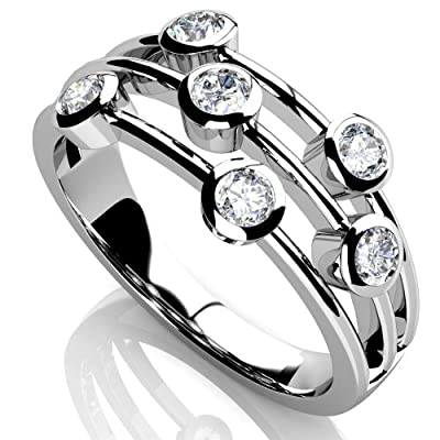 F/VS 0.50 Carat Round Diamond Eternity Ring, 18k White Gold
