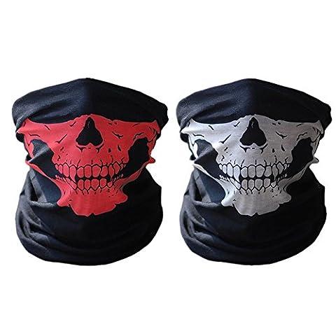 ECOMBOS 2pcs Multifonction Tour de Cou Cagoule Microfibre Crâne Tête de Mort Chapeaux Tube Masque Visage (Rouge&Blanc, Unique)