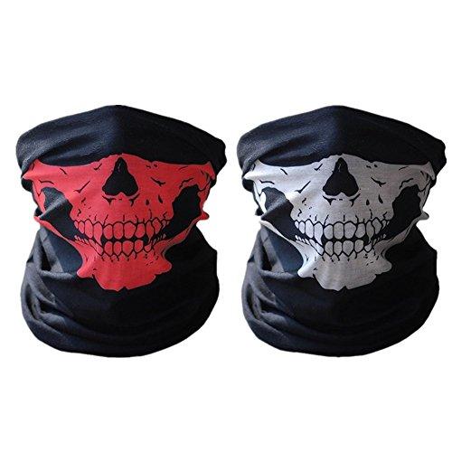 ECOMBOS Totenkopf-Maske / Bandana / Schal, weiches Polyester, nahtlos, 2 Stück, damen, schwarz/rot, 25 x 50cm /9.5