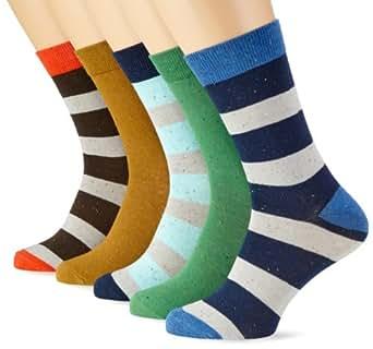 JACK & JONES Herren Socke 5 er Pack, gestreift 12071712 DOKUS 5-PACK SOCK ORG, Gr. one size, Mehrfarbig (Medium Green/ Golden Brown/Woody Brown/Aqua Splash/Dress Blue)