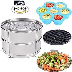 Zubehör für Instant Pot – Stapelbare Edelstahl Dampfgarer Einsatzpfannen, Gemüse Garbehälter, Gekochte Eier Silikonformen, Silikon Topfhalter, 4 Stk./Set für 5, 6, 8 QT Schnellkochtopf