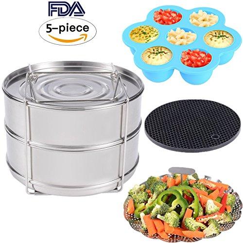 Zubehör für Instant Pot – Stapelbare Edelstahl Dampfgarer Einsatzpfannen, Gemüse Garbehälter,...