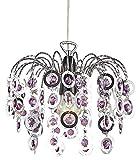Moderner Chrom Wasserfall Kronleuchter leichte Montage Hngelampenschirm mit lila Acryl Perlen von Haysoms