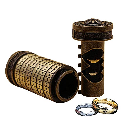 Urben Life Cryptex Da Vinci Code Lock Retro Creative Alphabet Cylinder with Two Rings Valentines Day Interesting Romantic Birthday Gifts for Her