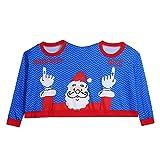 Weihnachten Pullover, Hässliche Pullover Weihnachten Paare Pullover Mode Neuheit Zwei Personen Top Weihnachtsbluse Winter Warm Shirt(Blau,EU-48/CN-3XL
