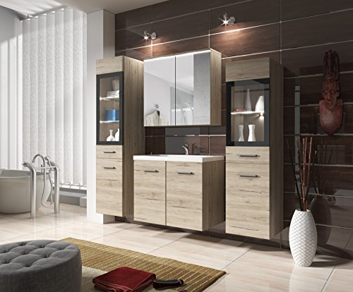 #Badmöbel Set Udine II mit Waschbecken und Siphon, Modernes Badezimmer, Komplett, Spiegelschrank, Waschtisch, Hochschrank, Möbel (mit weißer LED Beleuchtung, San Remo)#