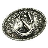 Sharplace Hebilla de Cinturón, Forma Oval, Patrón Caballo/Indio, Color Oro/Plata - 8.2 x 6.3cm Caballo Color Plata