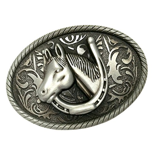 Sharplace Belt Buckle, Oval Shape, Horse / Indian Pattern, Gold / Silver Color - 8.2 x 6.3cm Silver Horse