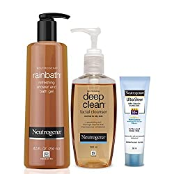 Neutrogena Bath & Body Combo�(Rainbath Shower Gel 250ml, Deep Clean Facial Cleanser 200ml, Ultra Sheer Dry-Touch Sunblock SPF 50+ 30ml)
