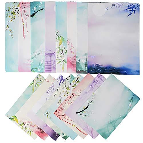 64 Blatt Briefpapier mit 8 Blatt Umschläge Set vintage Schreibpapier Motivpapier mit Umschlag ohne Fenster