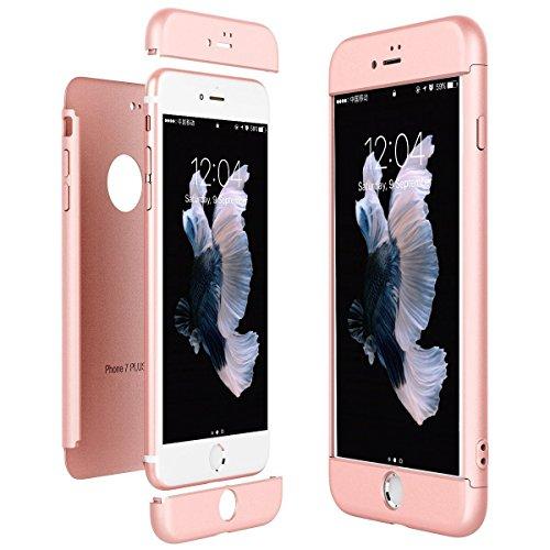 Qissy®3 in 1 Ultra Dünner PC Harte Case 360 Grad Schutzharte iPhone 7 Fall Premium mattierte Schutzhülle (iPhone 7, Schwarz + rot) Rose Gold