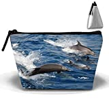 Jumping Dolphins Travel Toiletry Bag/Shaving Grooming Kit/Makeup Bag Organizer