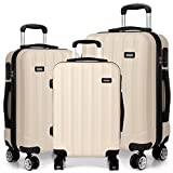 Kono 3pcs Luggage Set Hard Shell Suitcase Light Weight ABS 4 Wheels Spinner