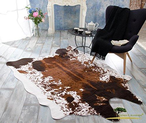 XXL Fellteppich, großer Kurzflor Teppich Kuhfell braune Töne