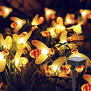 Solar Garden Decorations Outdoor Bee String Lights, ALED LIGHT 6.4m Waterproof 30 LED Solar Powered Outdoor Fairy Landscape Lights Tree Lighting for Garden Patio Lawn Decorations Balcony Lights