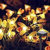Cadena Solar de Luces de la Abeja, ALED LIGHT 6.4m Exterior Guirnalda Luces Impermeable Luces LED Decorativas, Guirnaldas Luminosas de Jardín para Exterior,Interior, Casas, Boda, Fiesta de Navidad