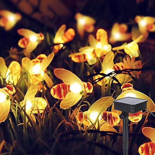 Solar Lichterkette Außen, ALED LIGHT 30 LED Solar Bienen licht Lampe Warmweiß 6,4 m/21ft Außen Wasserdichte lichterkette für Weihnachten Gartenterrasse Rasendekorationen Balkon Lichter Garten Party