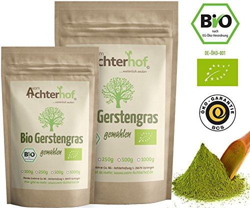 Große Ernte Ernährung (Gerstengraspulver BIO (1kg) | Rohkostqualität | 100% Gerstengras Pulver | Rückstandskontrolliert | vom-Achterhof)