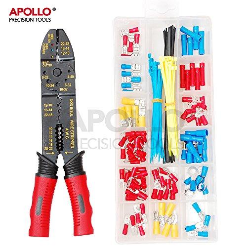 Apollo 4-in-1 Draht-Crimp- & Abisolierzange mit 175-teiligem Drahtklemmen- und Anschlusskit für das Crimpen nichtisolierter & isolierter Stecker & Abisolierdrähte 10-22AWG, Bolzen- und Drahtschneider für elektrische Reparaturen und Wartung, Autoelektrik, Neuverdrahtung, Montageprojekte , Installieren von Lautsprechern, Beleuchtung, Haushaltstechnik und Elektronik, Kupferkabel-, Koaxial-, Thermo- und Aluminiumverdrahtung (Elektrische Kabel-reparatur-set)