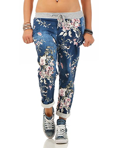 Zarmexx Damen Sweatpants Baggy Hose Boyfriend Freizeithose Sporthose All-Over Roses Print One Size