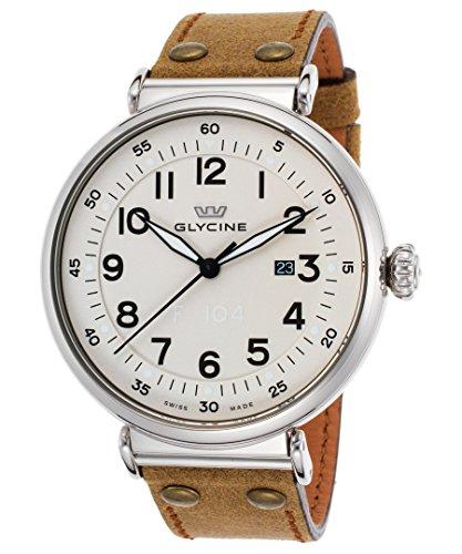 Glycine F104,orologio da polso automatico per uomo, quadrante bianco avorio, cinturino in vera pelle marrone chiaro (3932-14At-Lb7r)
