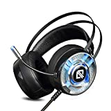 Comfortable LED 3.26mm Stereo Gaming LED Lighting Over-Ear Headphone Headset Headband with Mic for PC Computer Game with Noise Cancelling & Volume Control