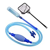 bedee Fish Tank Cleaner, UPGRADED-Net Included, Siphon Vacuum Pump Gravel Cleaner Water Changer