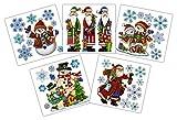 * 5er-Set große Weihnachts-Aufkleber | Fensterbilder Wand-Sticker | mit Reliefstruktur | viele Weihnachtsmotive: Schneemänner, Weihnachtsmann, Nikolaus, Schneeflocken