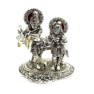 AMBA HANDICRAFT oxidised metal white metal antique statue of radha krishna showpiece india temple handicraft for gift birthday special diwali religious decorative for india home pooja work.X066