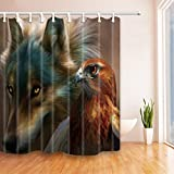 CDHBH Cortina de Ducha con Diseño de Lobo y águila (71 x 71 Pulgadas, Tejido de poliéster...